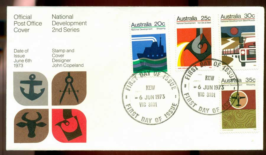 Australia 1973 National Development -Kew FDC Lot19995
