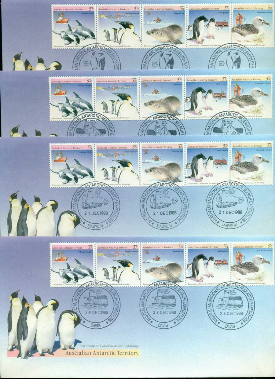 AAT 1988 Environment, Base Set 4x FDC Lot20240