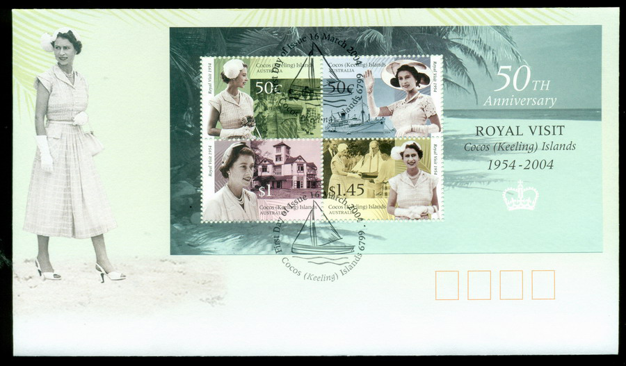 Cocos Keeling Is 2004 Royal Visit MS FDC Lot20305