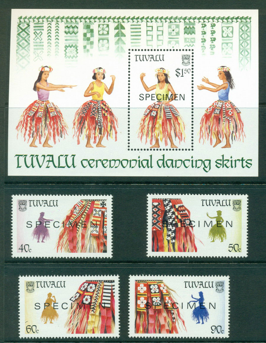 Tuvalu 1989 Palm Leaf Skirts + MS SPECIMEN MUH Lot20405