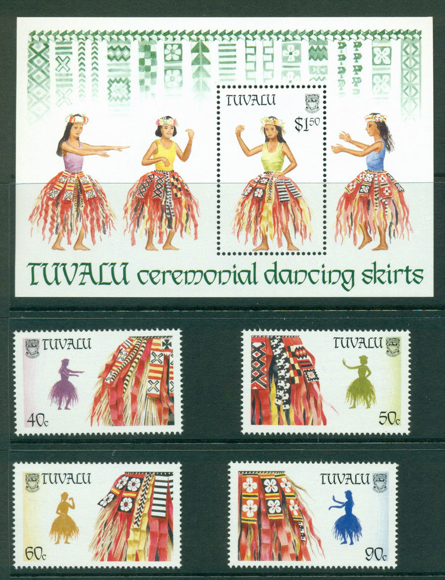Tuvalu 1989 Palm Leaf Skirts + MS MUH Lot20406