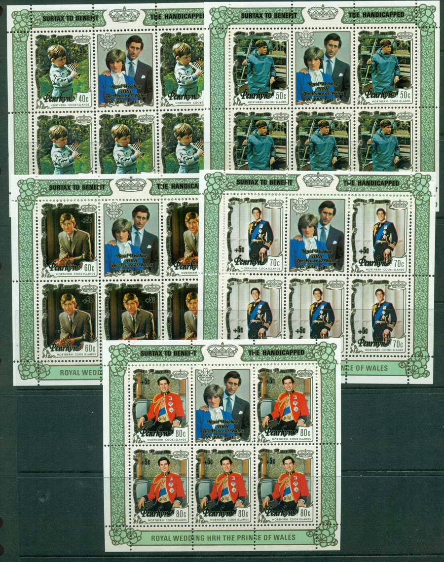 Penrhyn Is 1981 Charles & Diana Surch 5x MS MUH Lot20456