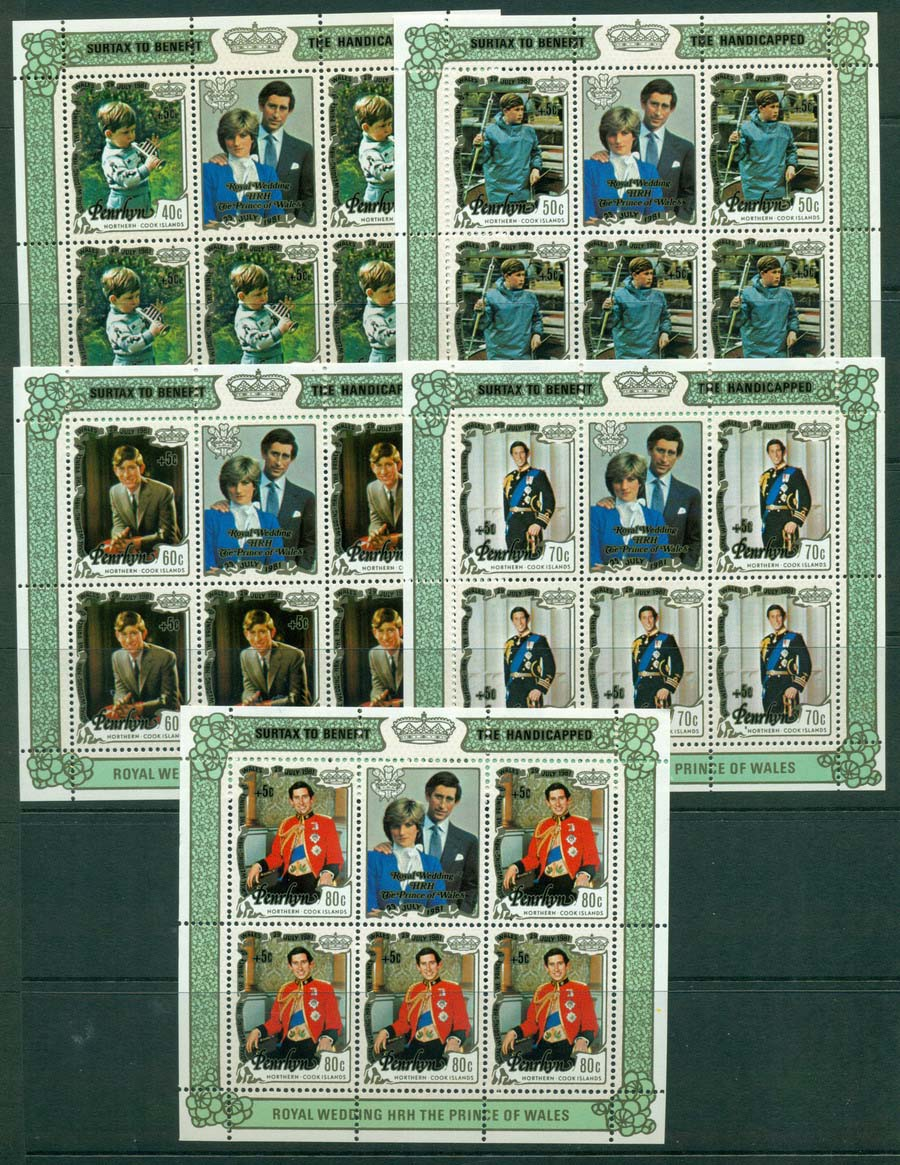 Penrhyn Is 1981 Charles & Diana Surch 5x MS MUH Lot20457