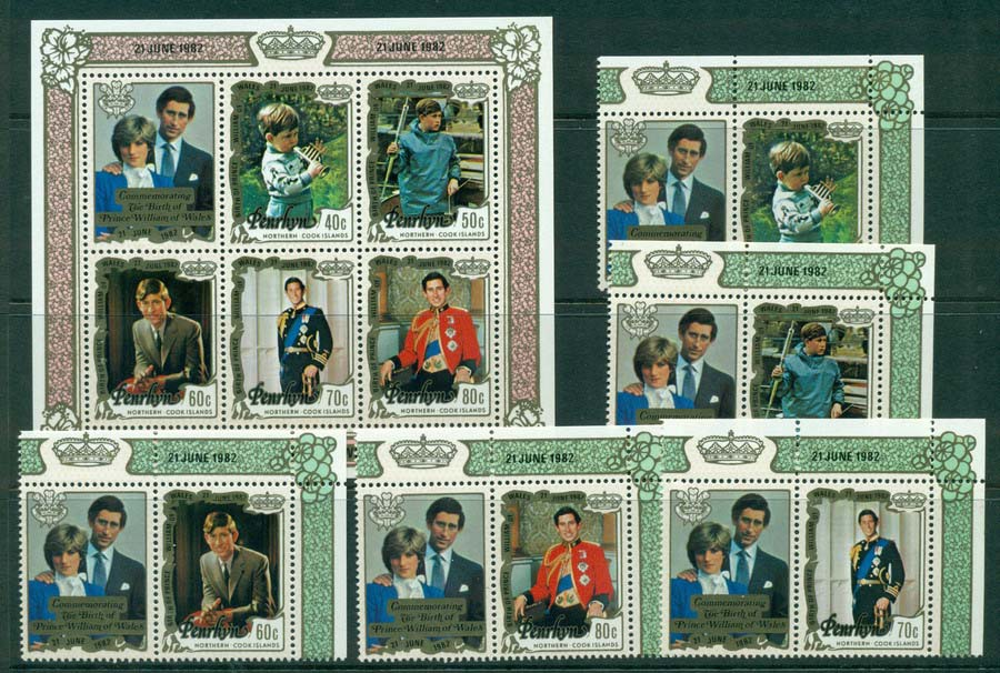 Penrhyn Is 1982 Birth of Prince William + MS MUH Lot20469