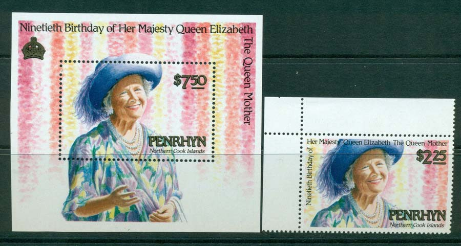 Penrhyn Is 1990 Queen Mother + MS MUH Lot20484