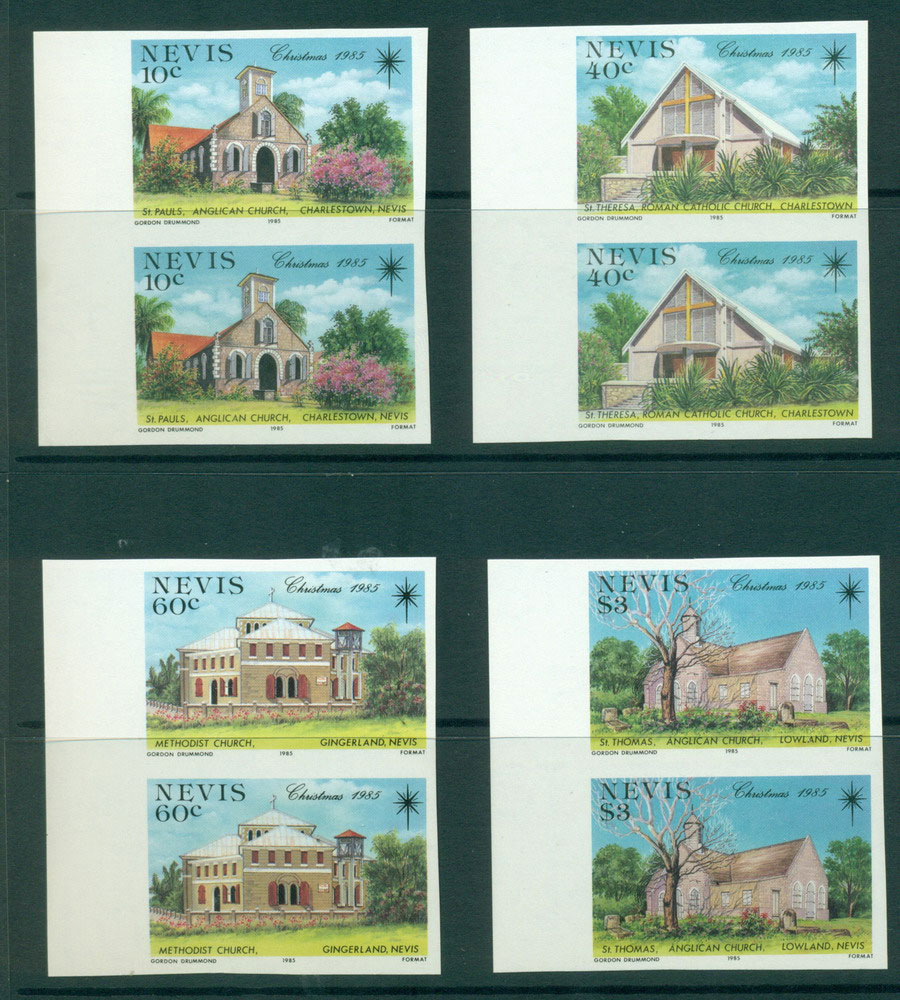 Nevis 1985 Xmas IMPERF Pairs MUH Lot21238 - Click Image to Close