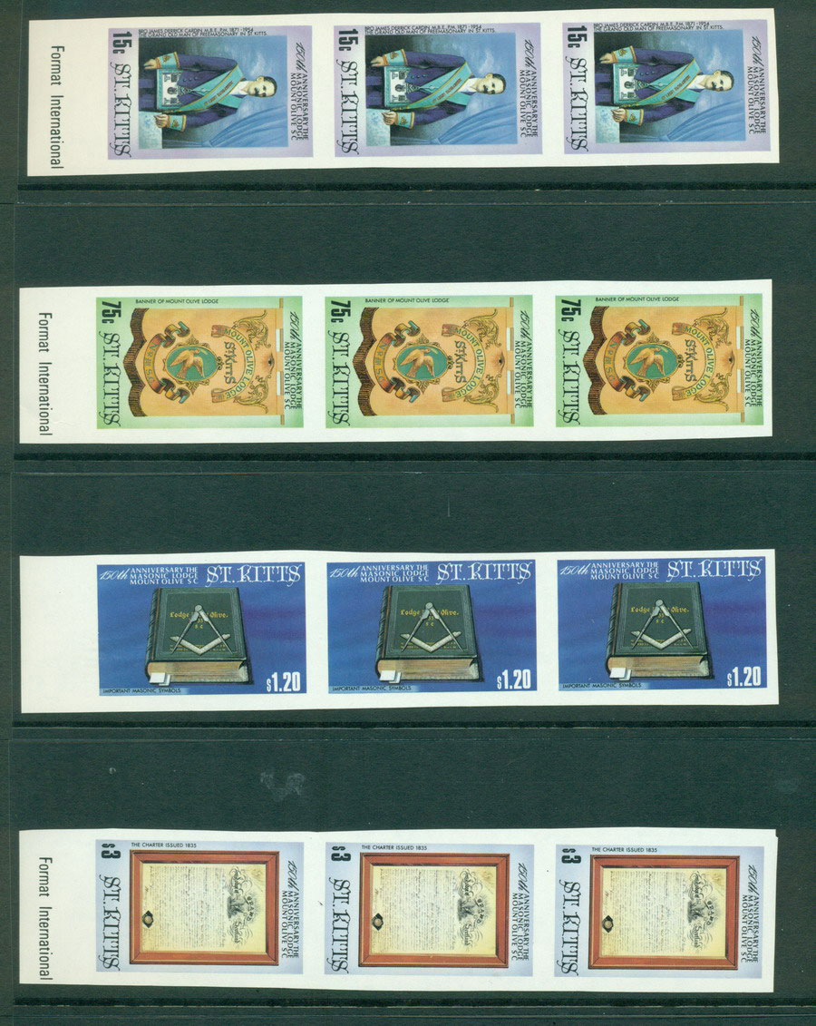 St Kitts 1985 Masonic Lodge IMPERF Strip 3 MUH Lot21283