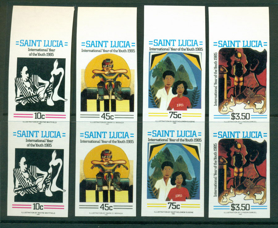 St Lucia 1985 Youth Year IMPERF pairs MUH Lot21291