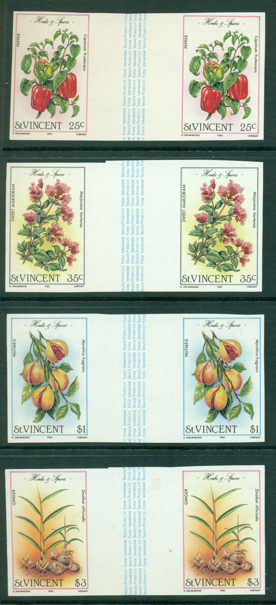 St Vincent 1985 Herbs & Spices IMPERF pairs MUH Lot21296