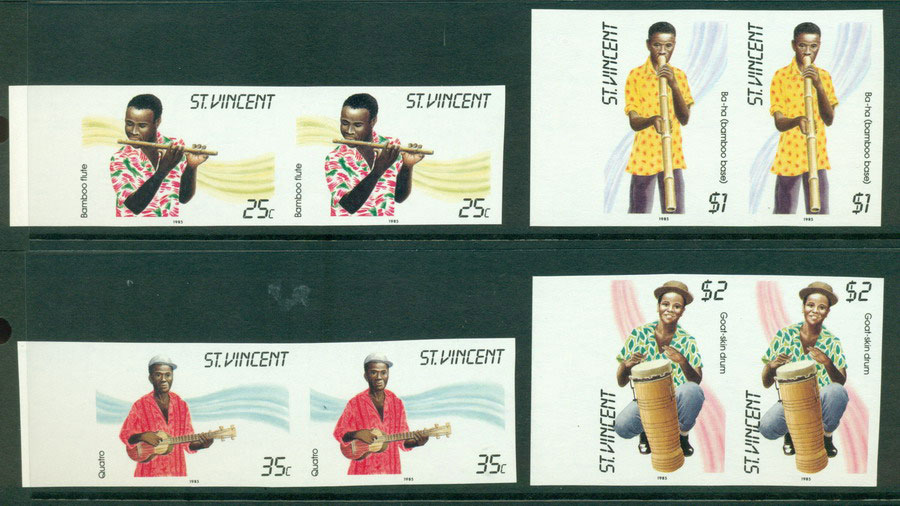 St Vincent 1985 Musicians IMPERF pairs MUH Lot21298