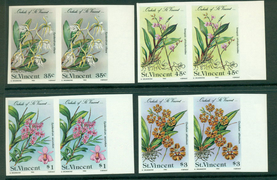 St Vincent 1985 Orchids IMPERF pairs MUH Lot21299