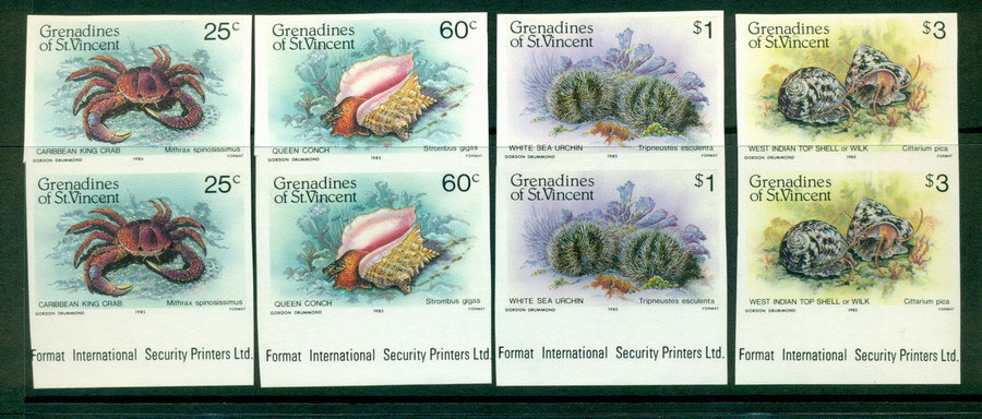 St Vincent Grenadines 1985 Marine Life IMPERF pair MUH Lot21311