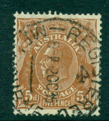 Australia KGV Head 5d Brown C of A Wmk FU (lot21752)
