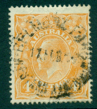 Australia KGV Head 4d Orange Single Wmk FU (lot21782)