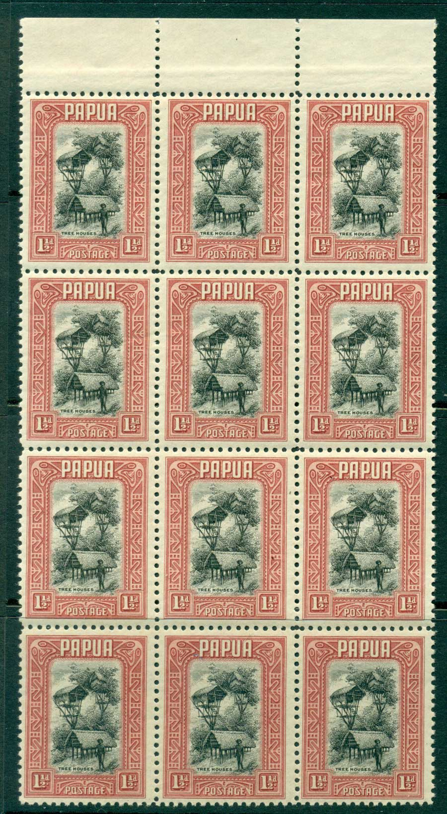 Papua 1932 1 1/2d Tree Houses Top Marginal Block 12 MUH (lot21944)