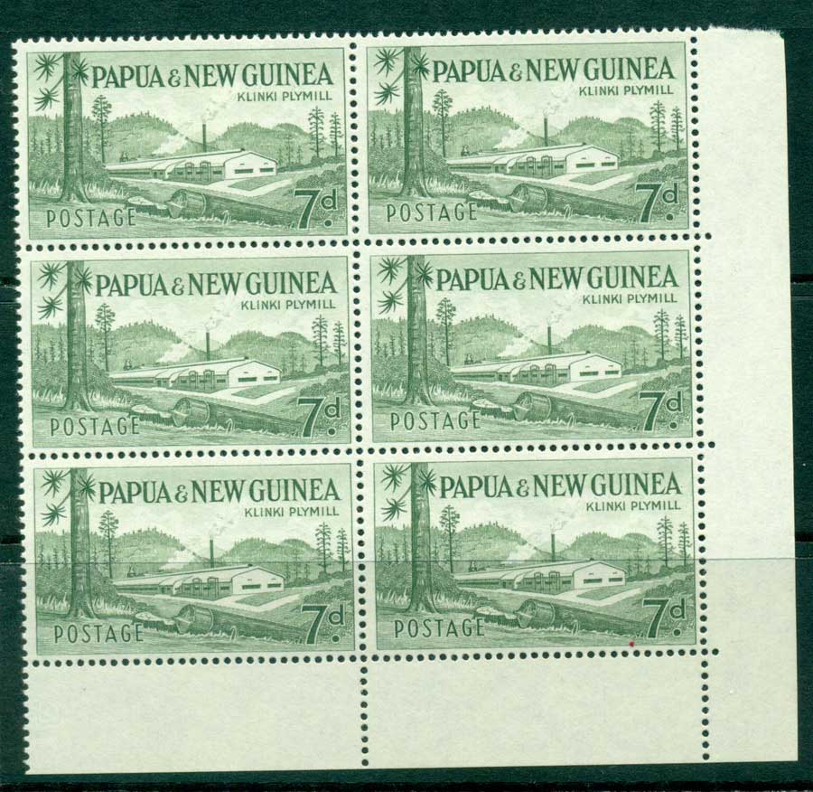 PNG 1958 7d Plymill Left Corner Block 6 MUH (lot21967)