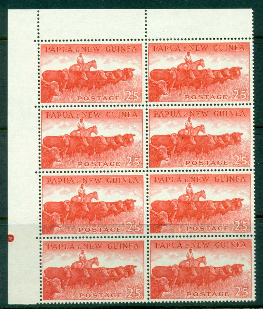 PNG 1958 2/5d Cattle TLC Block 8 with Plate pip MUH (lot21972)