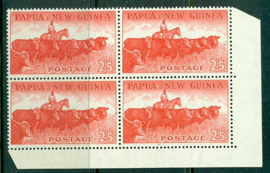 PNG 1958 2/5d Cattle Corner Block 4 MUH (lot21973)