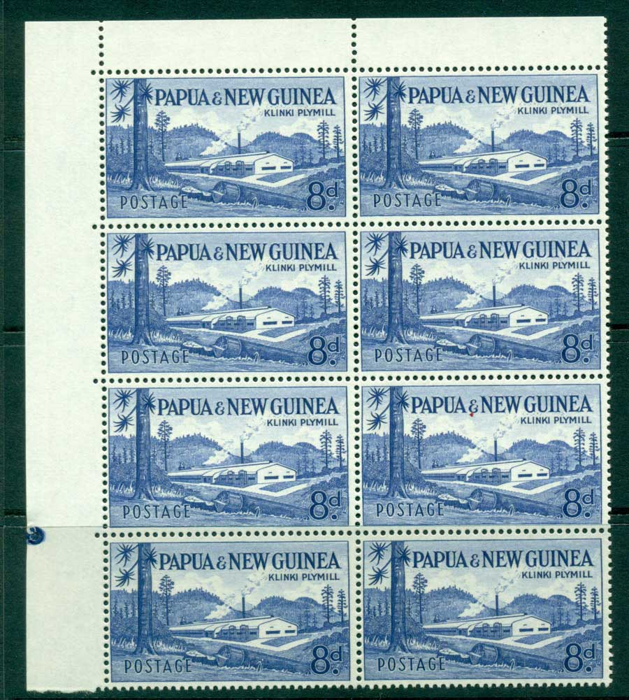 PNG 1958 8d Plymill TLC Block 8 with Plate pip MUH (lot21975)