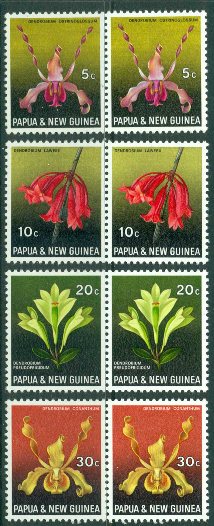 PNG 1969 Orchids Pairs MUH (lot22010)