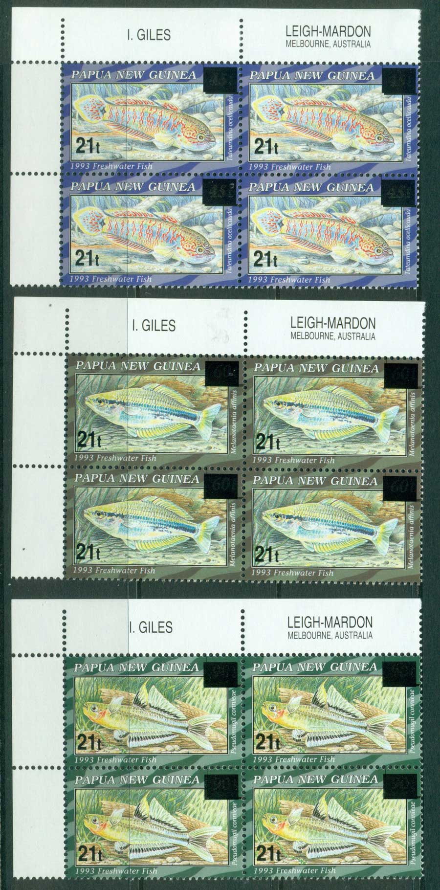 PNG 1995 Fish Surcharges (3) Imp Block 4 MUH (lot22081)