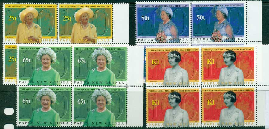 PNG 2000 Queen Mothers Birthday Block 4 MUH (lot22098)
