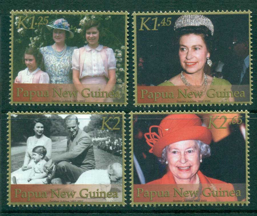 PNG 2002 Reign of QEII (gold borders) Gutter Block 10 MUH (lot22112)