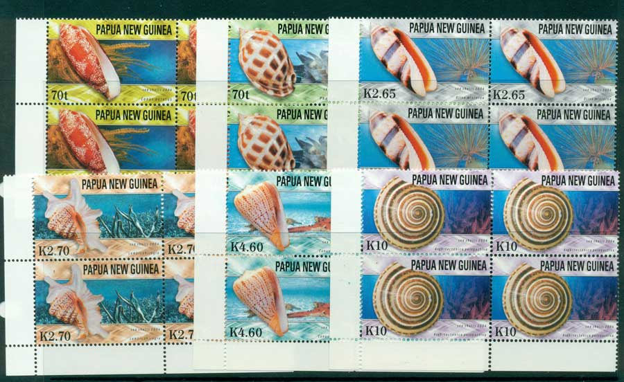 PNG 2004 Shells Blocks 4 MUH (lot22124)