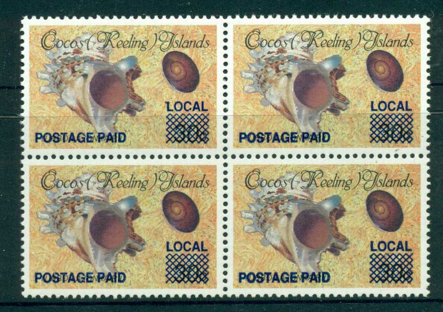 Cocos (Keeling) Is 1990 (1c) Local Postage Paid Opt Block 4 MUH (lot22352)