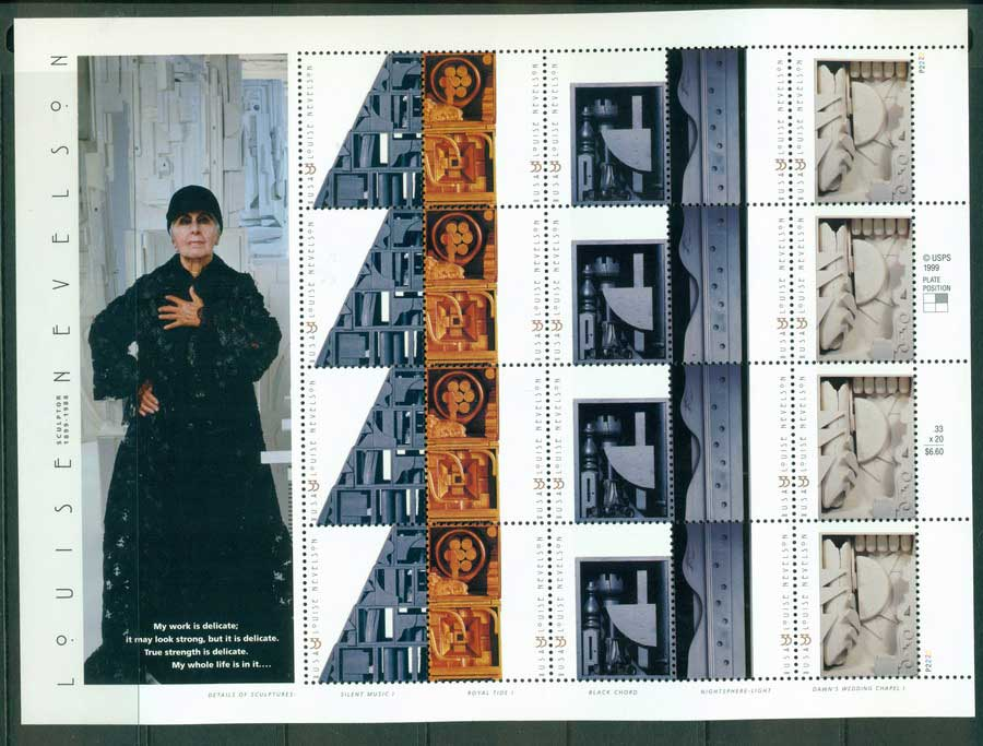 USA 2000 Sc#3379-83 Louise Nevelson Sculptor Sheetlet MUH (lot23244)