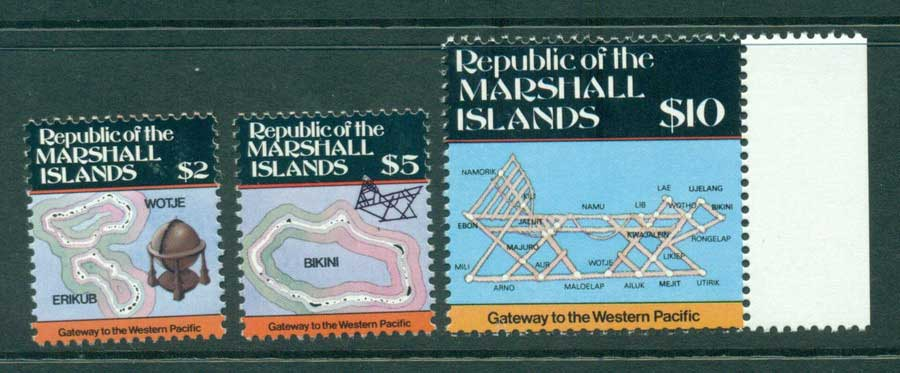 Marshall Is 1986 Maps $2,$5,$10 MUH (lot23328)