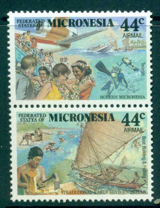 Micronesia 1988 Colonial Eras Air Pair MUH (lot23332)