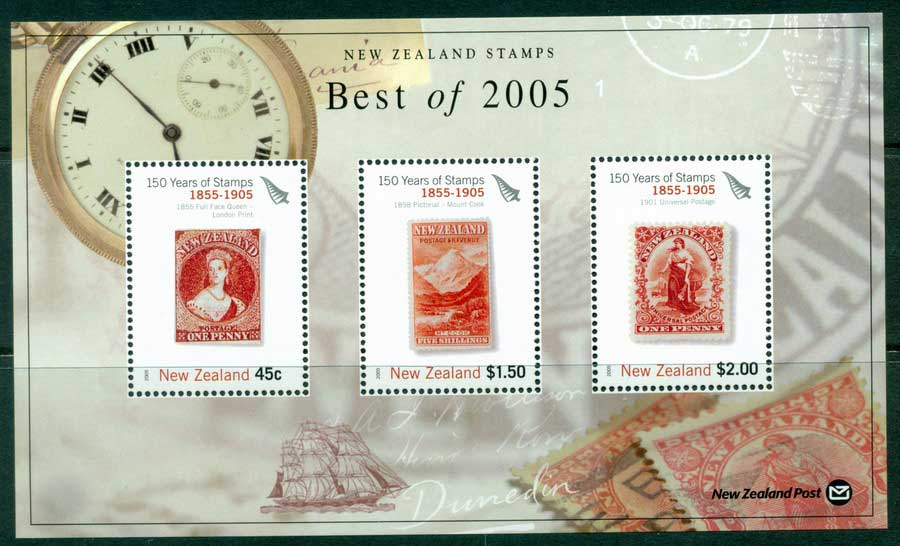 "New Zealand 2005 Best of Stamp Points MS ""1855-1905"" (1/3) MUH lot23432"