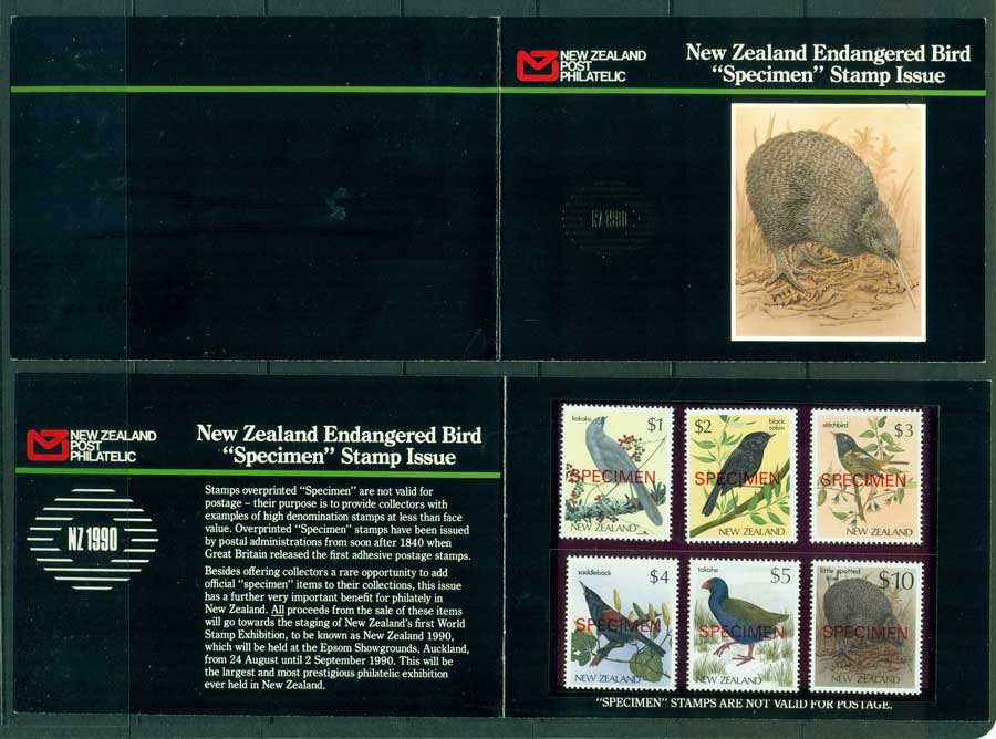 New Zealand 1982-89 Native Birds SPECIMEN NZ 1990 Opt Pack MUH Lot23434