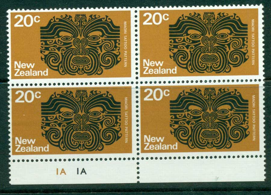 New Zealand 1970-71 20c Tattoo Block 4 MUH Lot23440