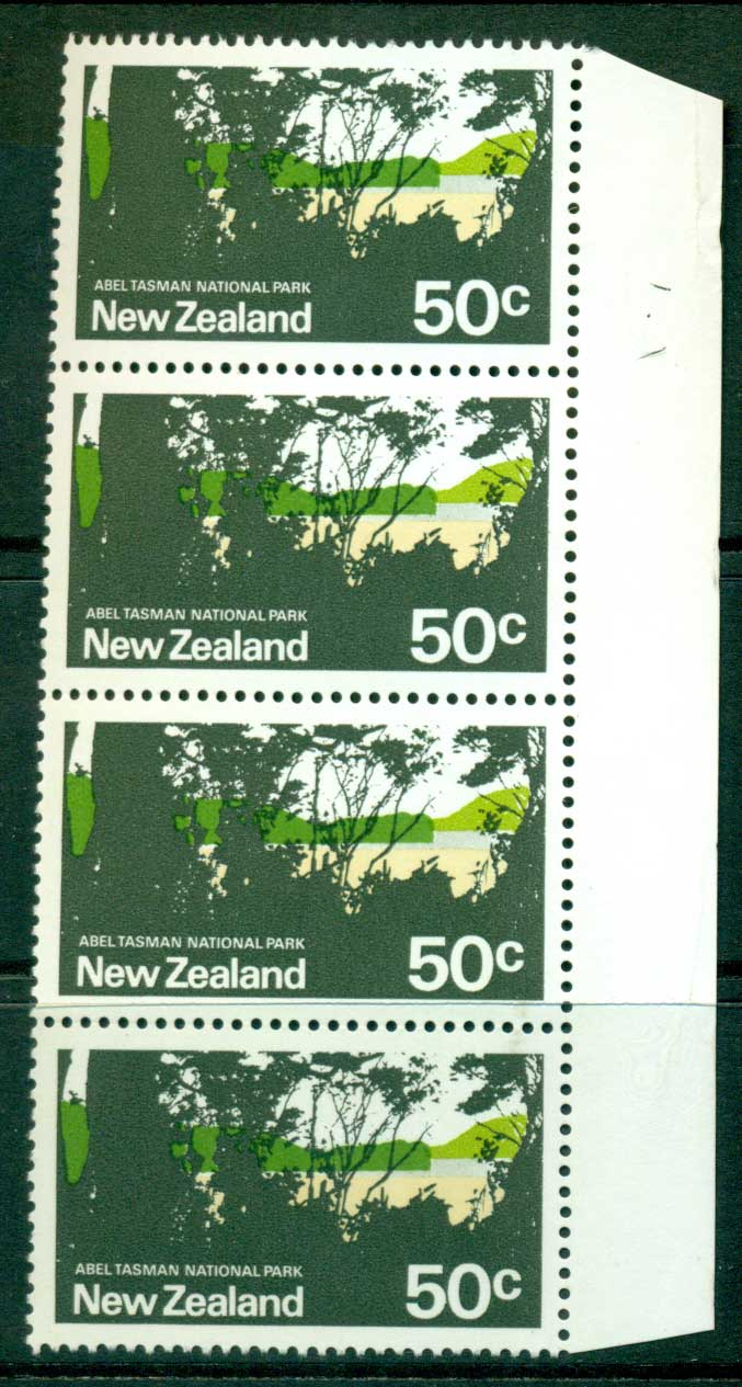 New Zealand 1970-71 50c Tasman Park Strip 4 MUH Lot23443