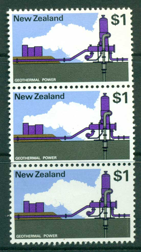 New Zealand 1970-71 $1 Geothermal Strip 3 MUH Lot23444