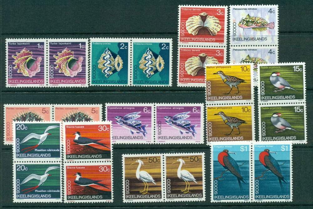Cocos Keeling Is 1969 Fish/Birds Pairs MUH Lot23994