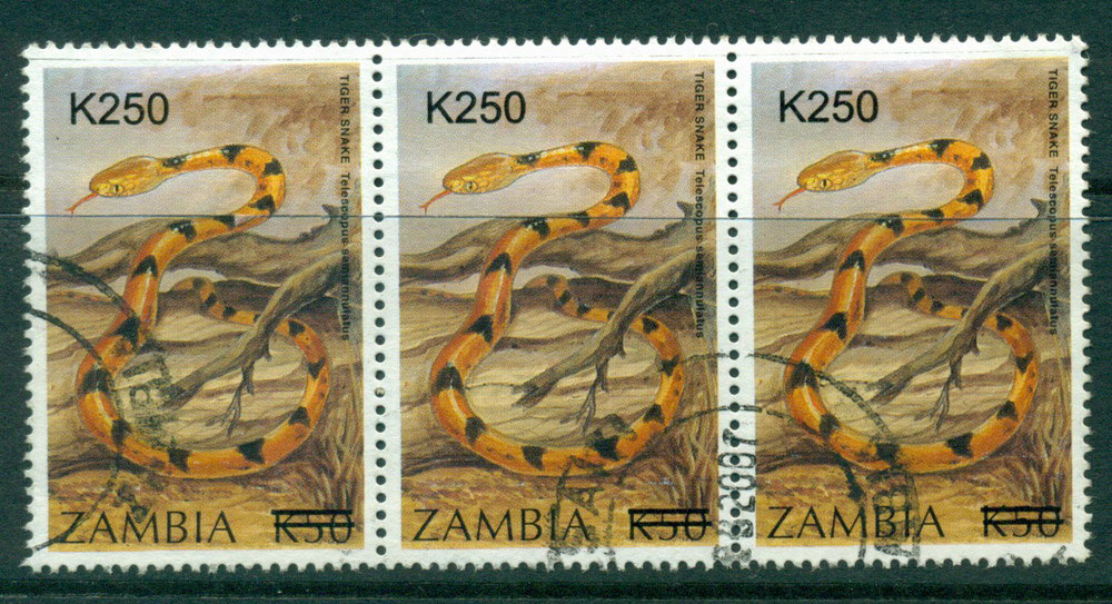 Zambia 2002 K250 Surcharge on 1994 Tiger Snake Strip 3 FU Lot24040