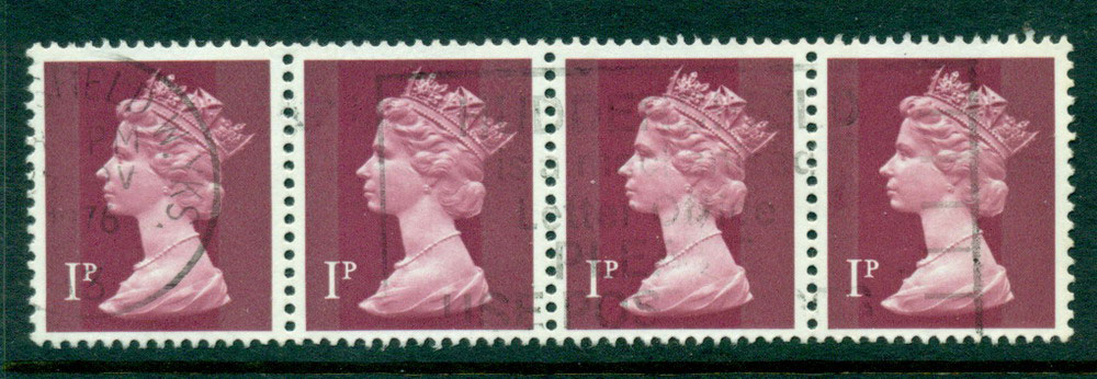 GB 1970-95 1p Machin Magenta Ty.I Strip 4 FU Lot24069