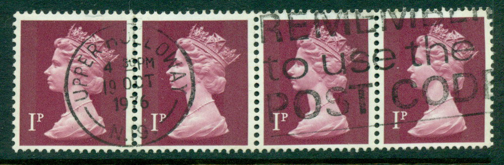 GB 1970-95 1p Machin Magenta Ty.I Strip 4 FU Lot24070