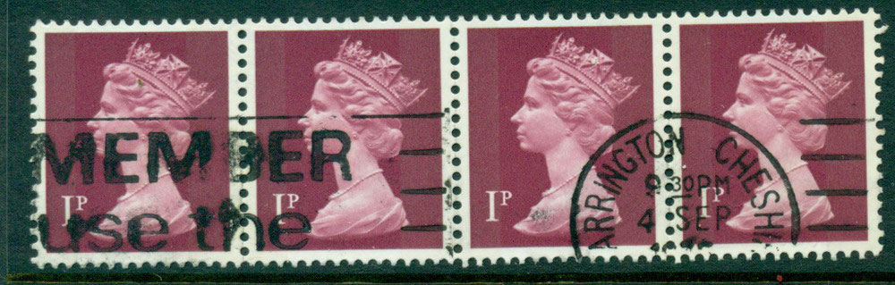 GB 1970-95 1p Machin Magenta Ty.I Strip 4 FU Lot24071