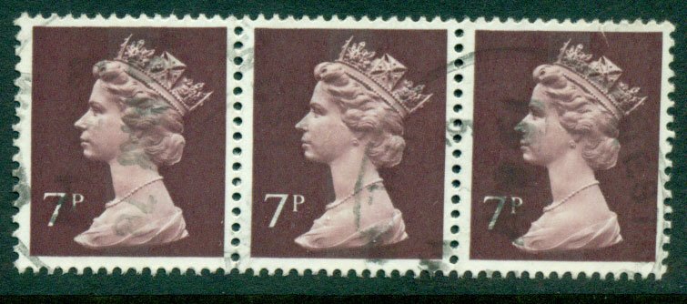 GB 1970-95 7p Machin dark red brown Strip 3 FU Lot24073