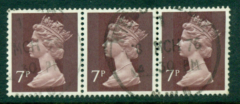 GB 1970-95 7p Machin dark red brown Strip 3 FU Lot24075