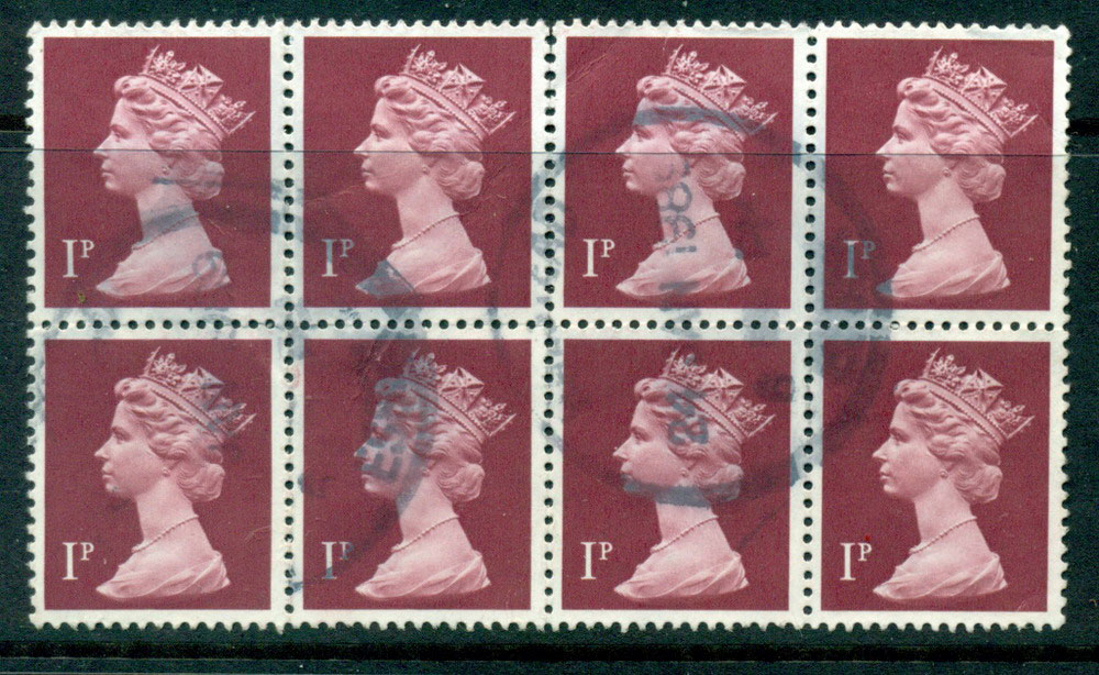 GB 1970-95 1p Machin Magenta Ty.I Block 8 FU Lot24091