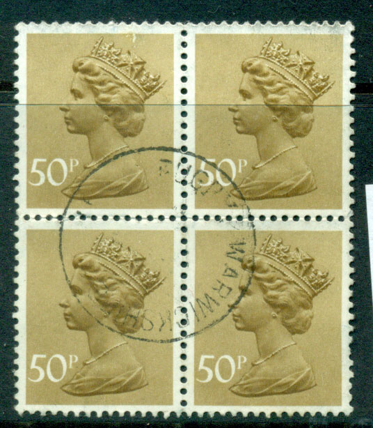 GB 1970-95 50p Machin bister brown block 4 FU Lot24093