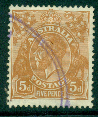 Australia KGV Head 5d Yellow Brown C of A Wmk FU lot25142