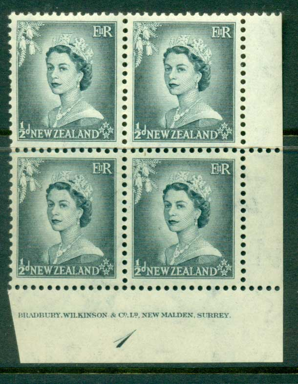 New Zealand 1954 QEII 1/2d Grey Plate 1 Block 4 MH/MUH Lot25319