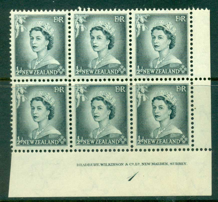 New Zealand 1954 QEII 1/2d Grey Plate 1 Block 6 MH/MUH Lot25321