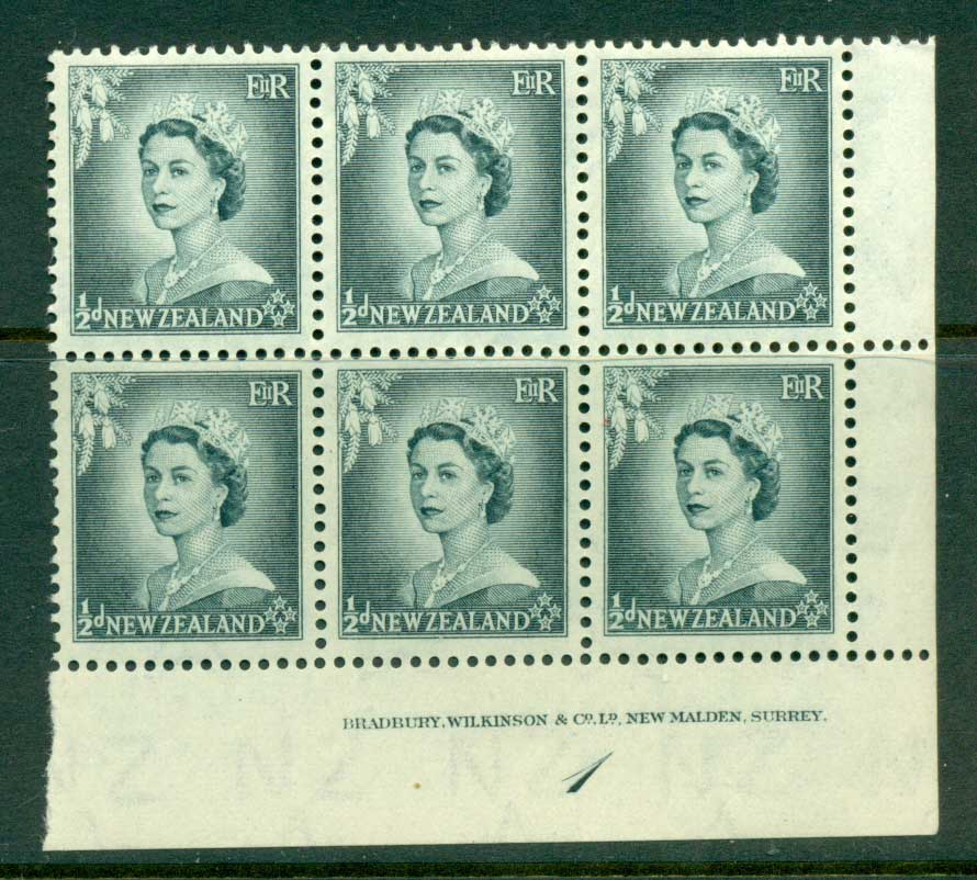 New Zealand 1954 QEII 1/2d Grey Plate 1 Block 6 MH/MUH Lot25322